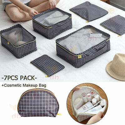 AU15.99 • Buy 7 Packing Cubes Pouch Luggage Travel Suitcase Clothes Organiser Cosmetic Bag AU