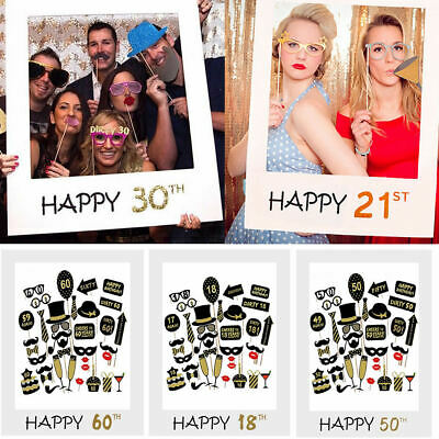 £3.39 • Buy Happy 18/30/40/50/60th 21st Birthday Frame Photo Booth Props Paper Party Decor