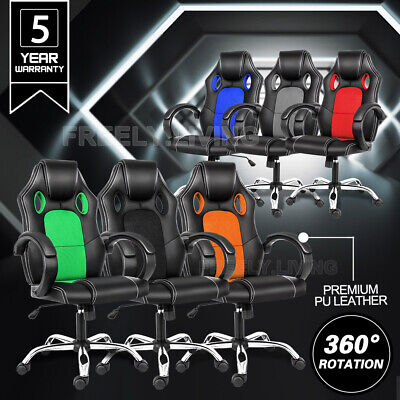 AU85.90 • Buy Gaming Chair Office Computer Seating Racing PU Executive Mesh Racer Recliner