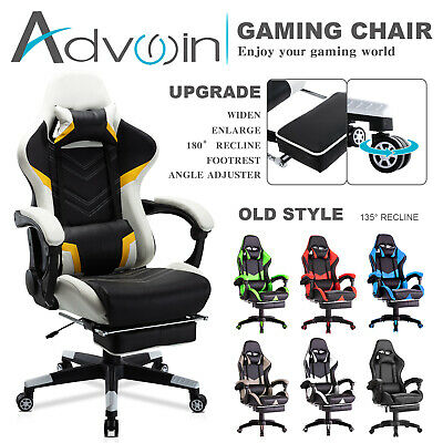 AU139.90 • Buy Advwin Computer Gaming Chair Executive Office Racer PU Recliner W/Footrest Seat