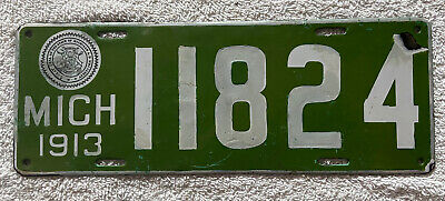 $ CDN283.24 • Buy Good Solid Original 1913  Michigan Porcelain License Plate  See My Other Plates