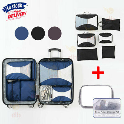 AU18.99 • Buy 7 Packing Cubes Pouch Luggage Storage Travel Suitcase Clothes Organiser Shoe Bag