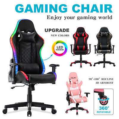 AU159.90 • Buy Computer Gaming Chair Executive Office Recliner PULeather Racer Seat W/Headrest