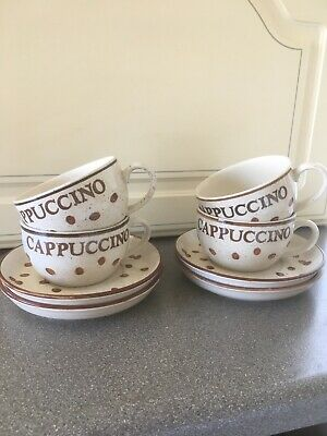 £8 • Buy Set Of 4 Cappuccino Coffee Bean Cups And Saucers
