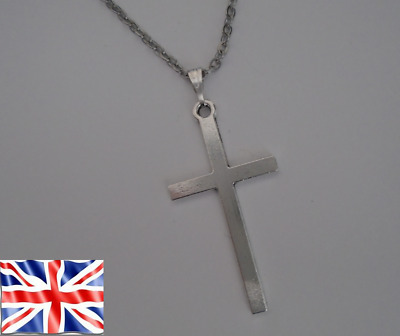 £2.89 • Buy Antique Silver Color Cross Pendant Stainless Steel Chain Or Black Cord Necklace