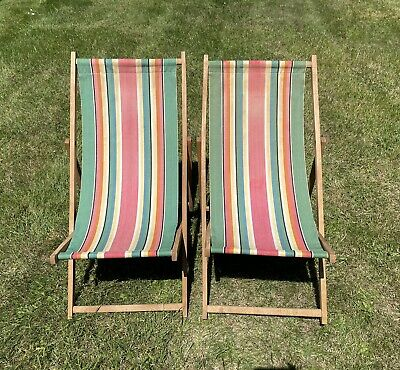 £27 • Buy 2 Vintage Wooden Canvas Folding Beach Deck Chairs, Striped F51