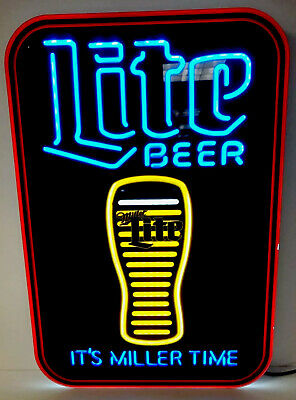 $169.95 • Buy Miller Lite LED Sign Motion Glass Emptying Its Miller Time 17  X 12   New & F/S