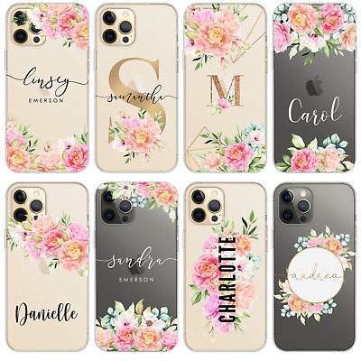AU10.43 • Buy Personalised Phone Case For Iphone 11 Xr 12 7 8 Name Clear Silicone Cute Flowers