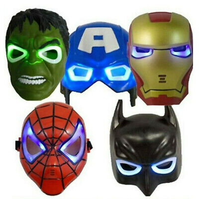 £6.49 • Buy Avengers Hulk Spider-Man Ironman Party Mask LED Light Up Cosplay Prop Kids Toy