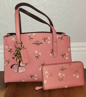 $ CDN280.14 • Buy Coach Pink Flower Handbag And Wallet, Comes With Additional Straps, Used