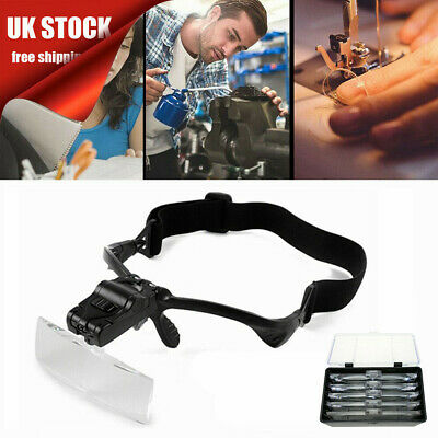 £7.99 • Buy Magnifying Glass Headset 2 LED Light Head Headband Magnifier 5 Lens With Box UK