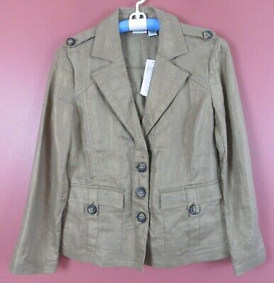 $32.67 • Buy CJ0879-NWT CHICO'S Women's 100% Linen Military Style Jacket Pockets 1 S M $109