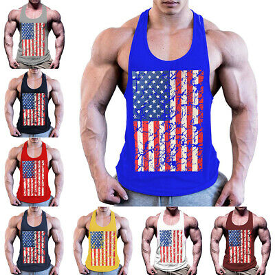 £8.99 • Buy Mens American Flag Printed Tank Tops Sport Fitness Workout Gym Muscle Fit Vest