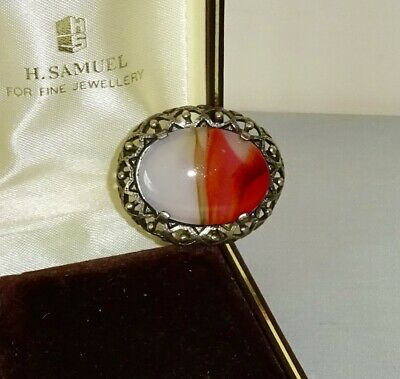 £2.99 • Buy Vintage Costume Jewellery - Miracle Signed Silver Tone Carnelian Scottish Brooch