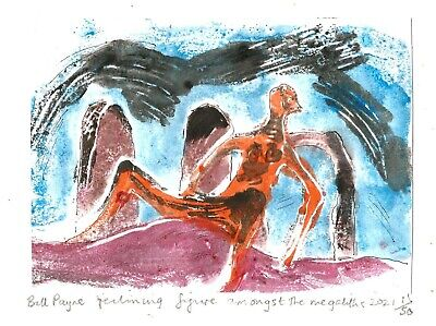 £7 • Buy 2021 Linocut By Bill Payne  Reclining Figure And Megaliths ,Henry Moore Homage