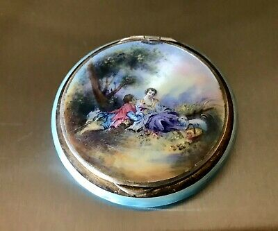 £64.46 • Buy German Sterling Silver Guilloche Enamel Compact Painted Country & Sheep 70g