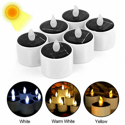 £6.22 • Buy 6/12pcs Electronic LED Candles Tea Lights Solar Power Flameless Fire Flickering