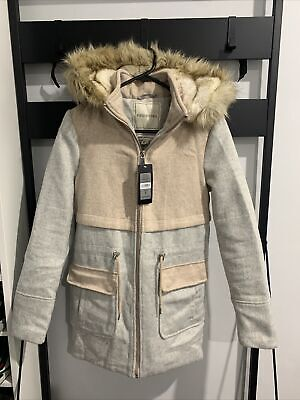 AU30 • Buy Forever New Womens Wool Parker Brand New, Size 6 Grey/soft Pink