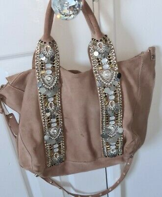£12 • Buy River Island Beige Genuine Suede Leather With Sequin Detail Tote Hobo Bag