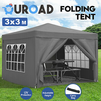 AU129.90 • Buy 3Mx3M Gazebo Pop Up Outdoor Camping Marquee Wedding Party Shade Canopy Tent Grey