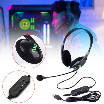 AU14.59 • Buy USB Headset/Gaming Headphone With Microphone Noise Cancelling For PC Laptop NEW
