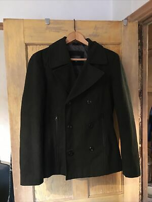 £10 • Buy M&S Limited Edition Mens Black Pea Coat Size Small