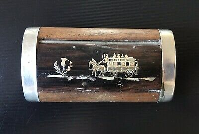£18.11 • Buy Antique Wooden Snuffbox With Mother Of Pearl And Silver Inlay Stagecoach Design