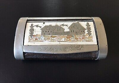 £18.11 • Buy Antique Wooden Snuffbox With Mother Of Pearl And Silver Inlay Homestead Design
