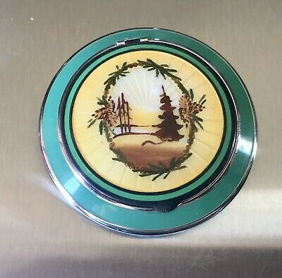 £90.54 • Buy Sterling Silver Guilloche Enamel Compact Evergreen Trees Wreath  Excellent Cond