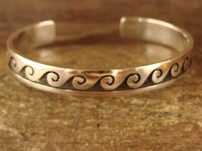 £117.52 • Buy Navajo Jewelry Hand Stamped Sterling Silver Bracelet By C. Peterson