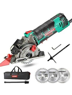 £55.99 • Buy HYCHIKA Circular Saw With 3 Saw Blades Laser Guide Scale Ruler 4500RPM