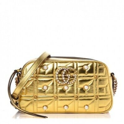 AU1750 • Buy Limited Edition Gucci Gold Small Marmont Shoulder Crossbody Matelesse Bag Pearls
