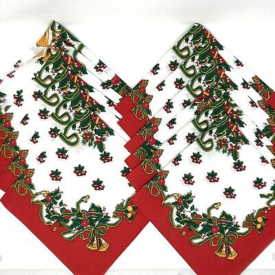 £28.63 • Buy NEW Set Of 12 Vintage Red Christmas Napkins Bells & Bows Made In USA Cotton/Poly