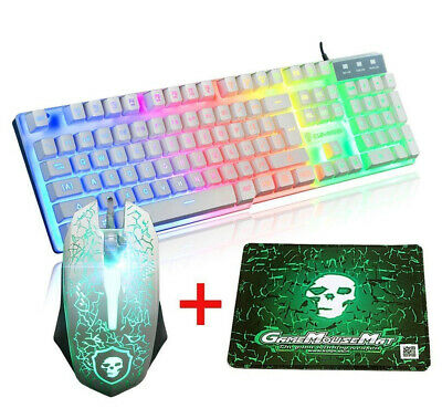 AU55.88 • Buy Gaming Keyboard And Mouse Combo Set With Mouse Pad Rainbow Color Backlit USB Key