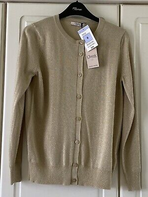 £14.99 • Buy Bnwt - Marks And Spencer - Gold Lurex Cardigan - Size 8 - £25