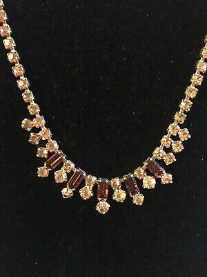 £2.99 • Buy Vintage Style Stunning Gold Toned Diamante Necklace - Amber Coloured Stones