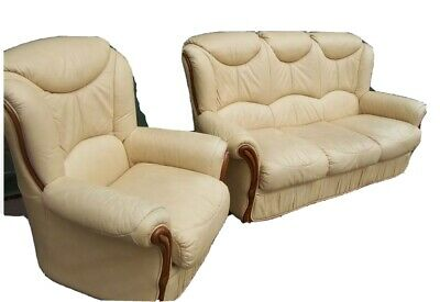 £120 • Buy Cream Italian Style Leather 2 Piece Suite 3 Seater Sofa  1 Chair Pos Deliver