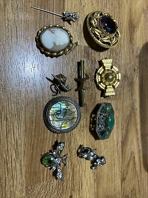 £1.20 • Buy Vintage Brooch Job Lot Abalone Exquisite Miracle Pinch Back Cameo Joblot