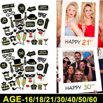 £3.99 • Buy 36pcs 16/18/21/30/40/50/60th Birthday Party Photo Booth Props Party Decor Selfie