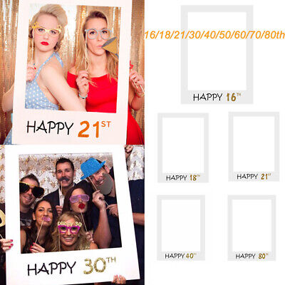 £2.99 • Buy Happy Birthday Photo Booth Props Frame 18/21/30/40/50/60th Party Decor UK
