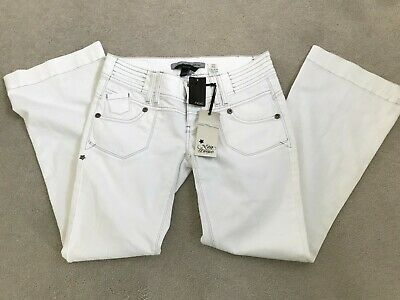 £7 • Buy NEXT BNWT WOMENS WHITE BOOTCUT LOW RISE JEANS PREMIUM COLLECTIIOn 12R ZIP CHAIN