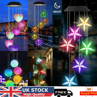 £8.99 • Buy Solar Powered LED Wind Chime Light Changing Garden Path Hanging Lamp Outdoor UK