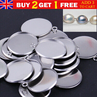 £7.89 • Buy 6-30mm Stainless Steel Round Cabochon Blank Bezel Base Trays For  DIY Jewelry