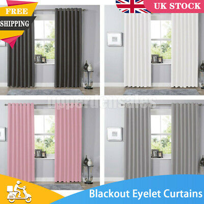 £14.65 • Buy Blackout Eyelet Curtains Black Out Thermal Ring Top Ready Made Curtain Pair NEW