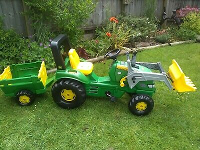 £30 • Buy Rolly Toys John Deere X-Trac Pedal Ride On Tractor, Loader & Trailer 3-10 Years