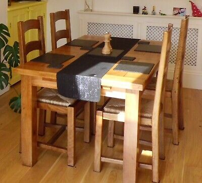 £100 • Buy Solid Mango Wood Extending Dining Table And 4 Chairs, Great Condition