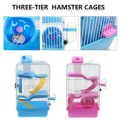 £15.89 • Buy 3 Tiers Luxury Hamster Cage Castle Gorgeous Hamster Mouse Cage Animal Play Home