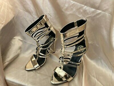 £13.59 • Buy Stiletto High Heel 4.5  Ankle High Gold Gladiator Sexy Open Toe Sandals Shoes