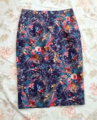 £8 • Buy Oasis Blue Paradise Tropical Print Pencil Wiggle Skirt Size 8