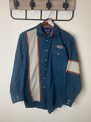 $35 • Buy Mens Wrangler Western Shirt Long Sleeve Embroidered Cotton Pearl Snap Button Up
